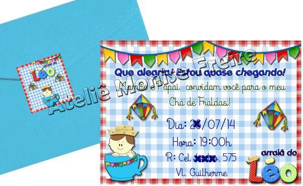Convite Aniversário Chá Bebê Caipira Festa Junina Ateliê Monise Freire